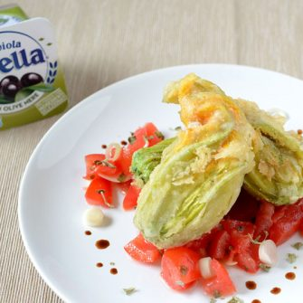 Courgette flowers with Robiola Osella with Black Olives