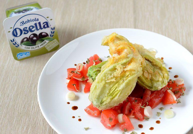 Fiori di zucchina con Robiola Osella con olive nere