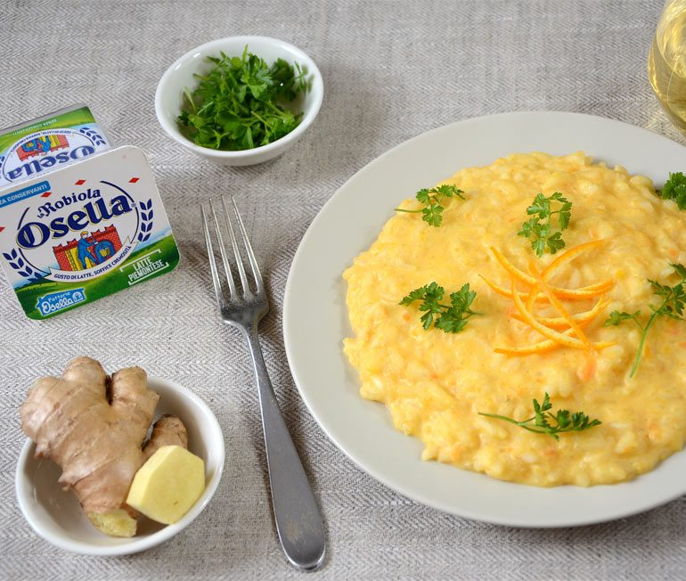 Risotto alla crema di carote, arancia e zenzero - Ricette Fattorie Osella