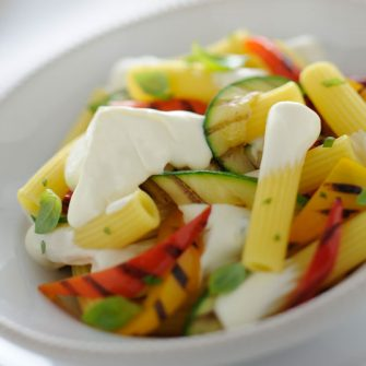 Creamy Robiola pasta with grilled vegetables