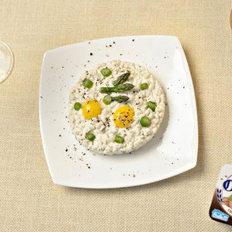 Risotto agli asparagi, Robiola con Tartufo e uova di quaglia