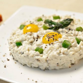 Risotto with asparagus, Robiola with Truffle and quail eggs