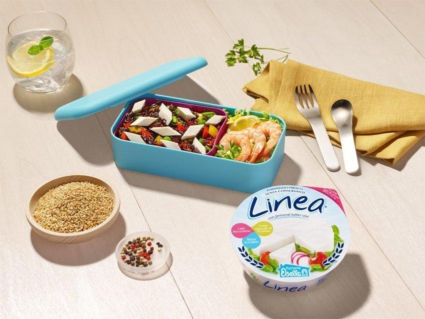 Insalata di Riso Venere con verdure colorate rombi di Linea Osella e aggiunta di gamberi